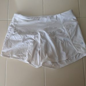 White Lululemon Run Times Shorts